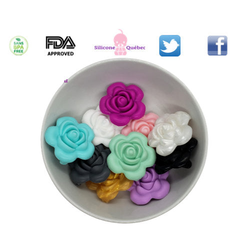 roses 38mm silicone beads