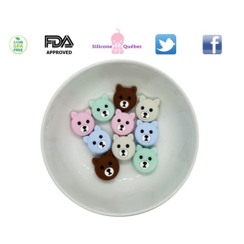 20mm silicone bear beads
