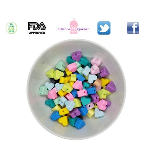 Heart 14mm silicone teethin beads