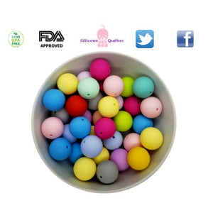 Round 19mm silicone teething beads