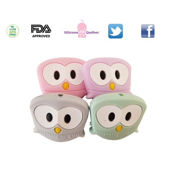 Owl silicone teething bead