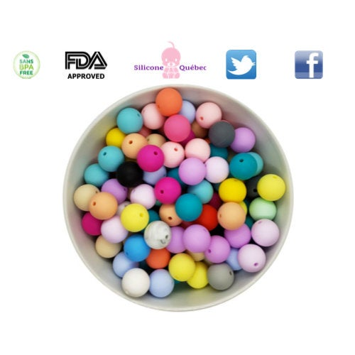 Round 15mm silicone beads