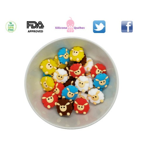 Sheep 23mm silicone teething beads