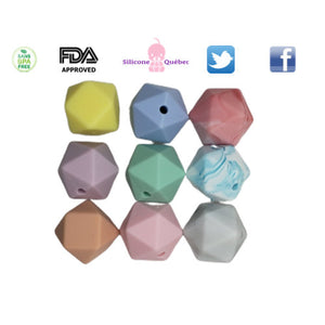 Perle hexagonale de 14 mm, perle de dentition