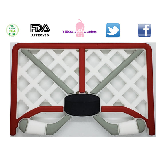 Hockey net teething toy
