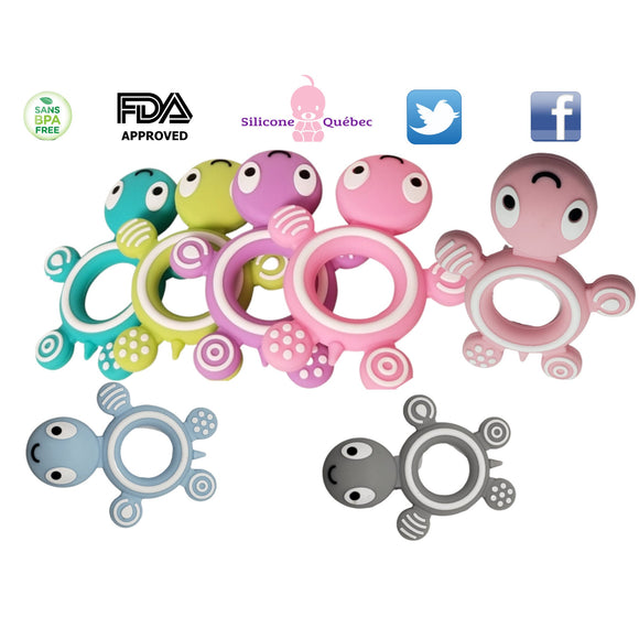 Turtle Silicone Teether |  FDA approved Teething Toys