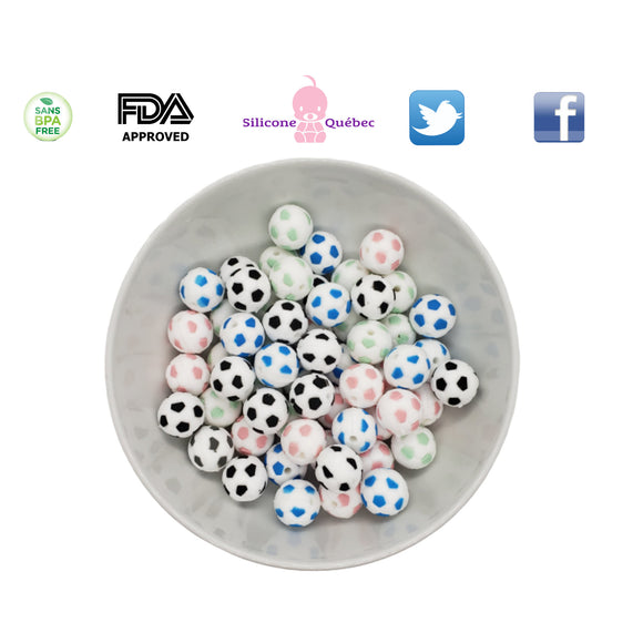 soccer silicone bead 15 mm
