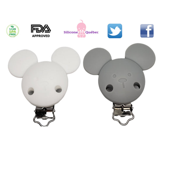 Pacifier silicone clip mouse ears