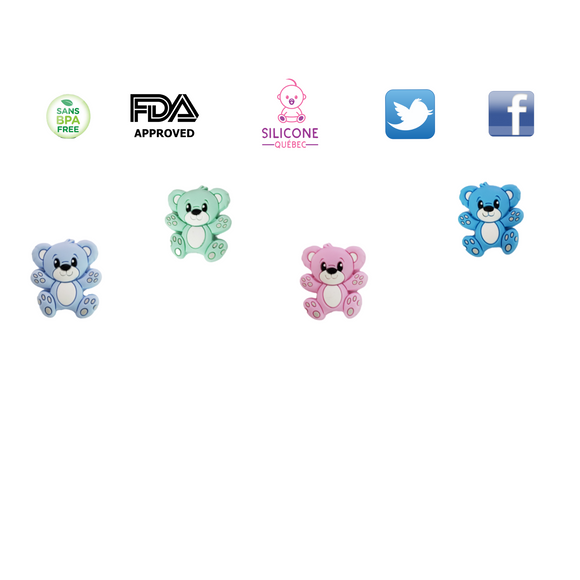 Teddy bear silicone beads