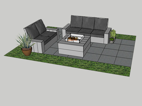 "Glendale Outdoor Furniture Set with Firepit 40""x40"" incl Separate Propane Storage"