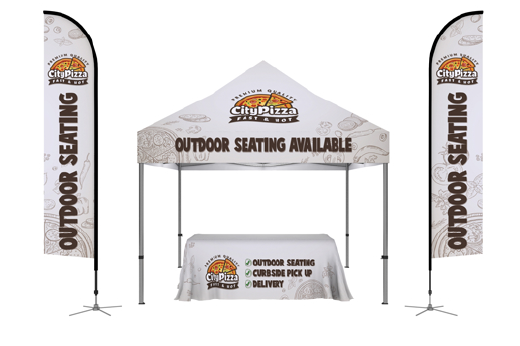 Outdoor Marketing Package with Canopy, Table Throw and Flags