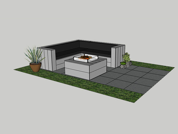 "Costa Mesa Outdoor Sectional 8'x8' with Firepit 40""x40"" incl Separate Propane Storage"