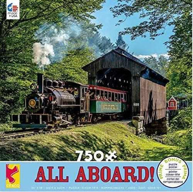 All Aboard Covered Bridge 750 Piece Jigsaw Puzzle - Roll2Learn