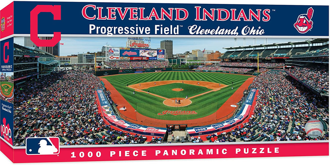 MasterPieces MLB Cleveland Indians Panoramic Jigsaw Puzzle, Progressive Field, 1000 Pieces - Roll2Learn