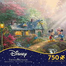 Load image into Gallery viewer, Thomas Kinkade The Disney Collection Mickey and Minnie Sweetheart Bridge Jigsaw Puzzle, 750 Pieces - Roll2Learn