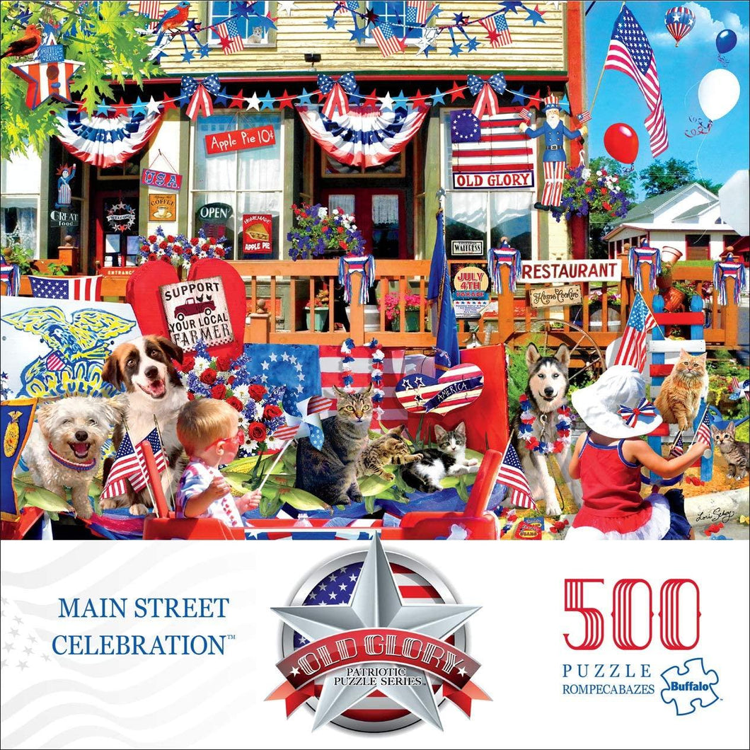 Old Glory - Main Street Celebration 500 Piece Jigsaw Puzzle - Roll2Learn