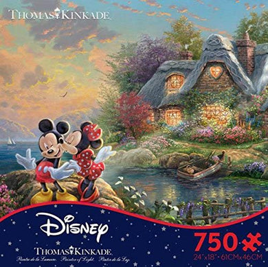 Thomas Kinkade The Disney Collection Mickey and Minnie Sweetheart Cove Jigsaw Puzzle, 750 Pieces - Roll2Learn