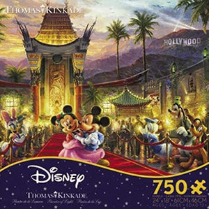 Thomas Kinkade The Disney Collection Mickey and Minnie Hollywood Jigsaw Puzzle, 750 Pieces - Roll2Learn