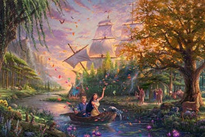 Thomas Kinkade The Disney Collection 4 in 1 Multipack Snow White, Mickey & Minnie Mouse, Pocahontas Jigsaw Puzzles, (4) 500 Pieces - Roll2Learn