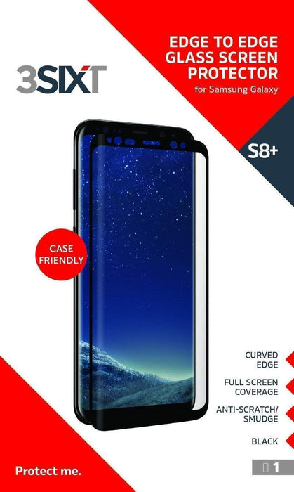 3SIXT Curved Glass Screen Protector Case Friendly Samsung Galaxy S8 Plus (Black)