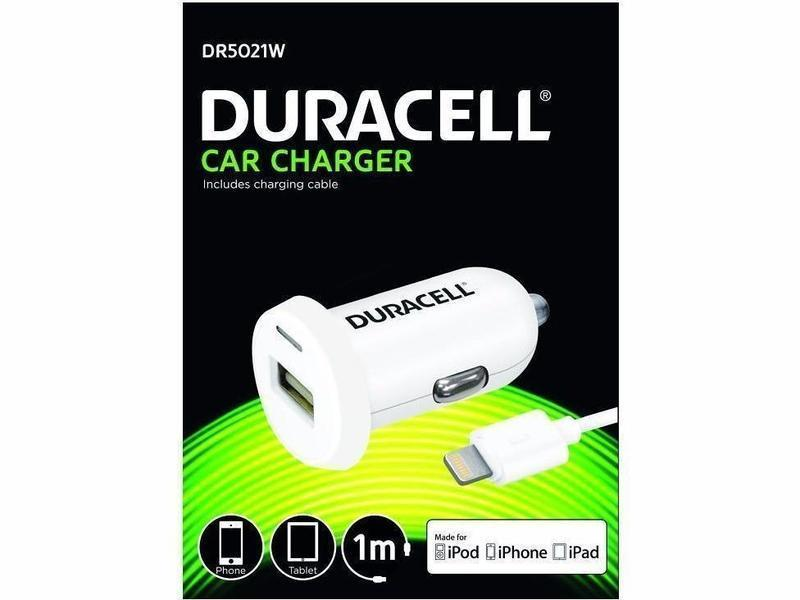Duracell Single USB Car Charger 2.4A + Lightning Cable