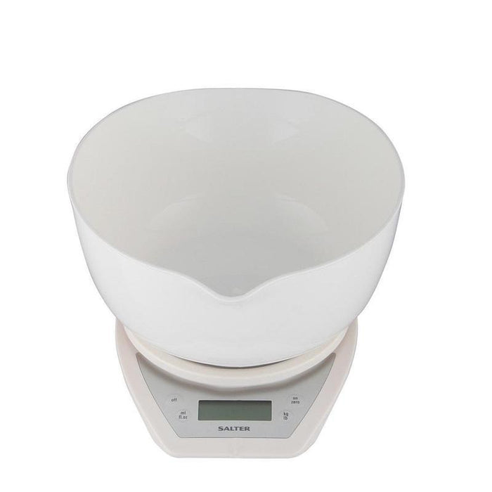 Salter Electronic Scale Dual Pour Mixing Bowl (White)