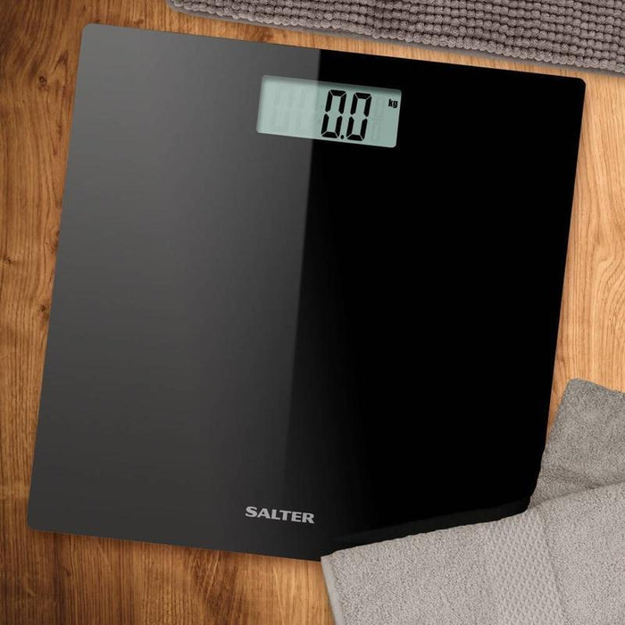 Salter Ultra Slim Glass Electronic Bathroom Scale (Black)