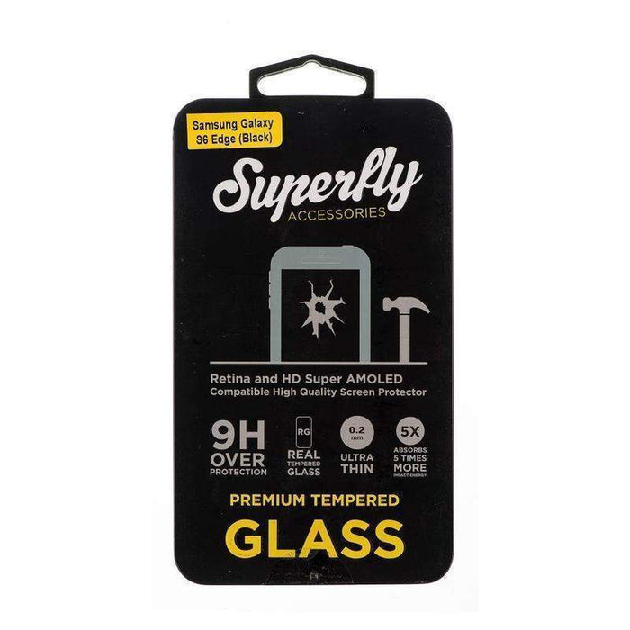Superfly Tempered Glass Screen Protector Samsung Galaxy S6 Edge V2 (Black)