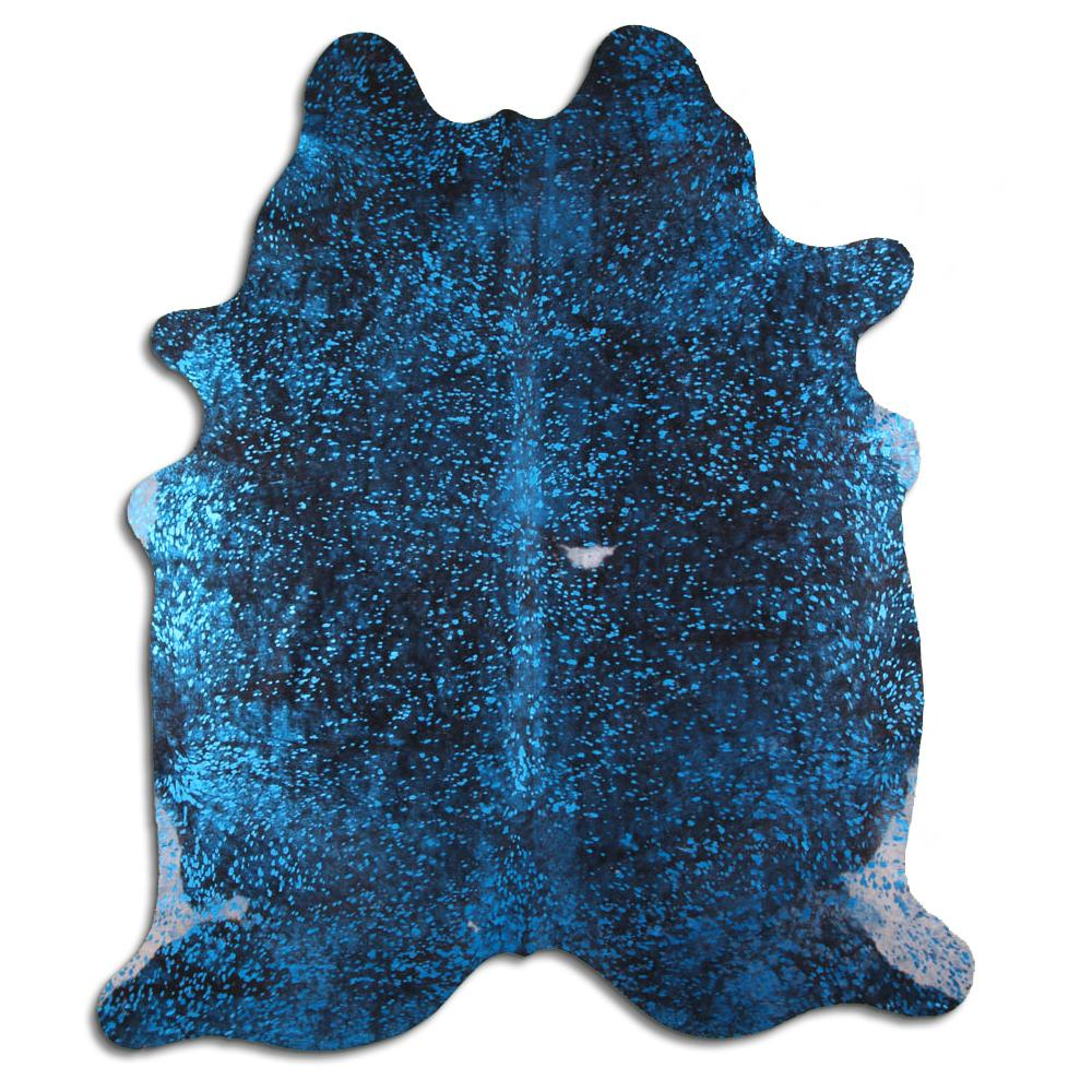 Hair-On Cowhide Rug - Acid Wash Blue & Black