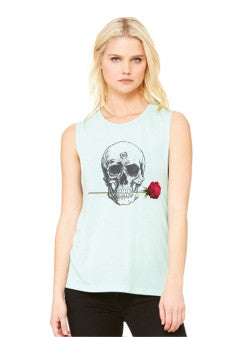 Rose Skull Women's Scoop Muscle Tee