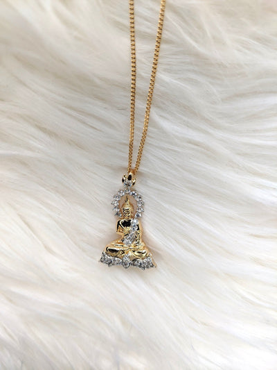 Cz Encrusted Buddha Necklace