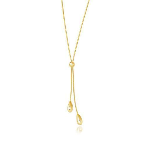 14k Yellow Gold Teardrop Lariat Necklace, size 17''