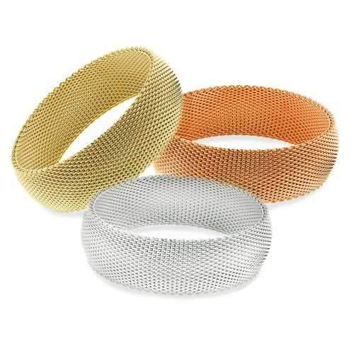 CHERISH Mesh Bangle Trio Of Gold Rose Gold Silver In 3 Sizes