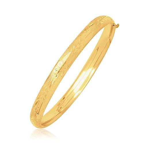 14k Yellow Gold Dome Motif Children's Bangle with Diamond Cuts, size 5.5''