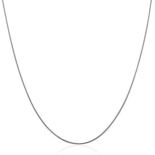 Sterling Silver Round Omega Style Chain Necklace with Rhodium Plating (1.25mm), size 16''