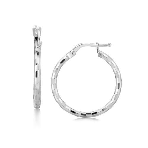 Sterling Silver Diamond Cut Hoop Earrings with Rhodium Plating (20mm)