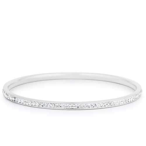 Simple Rhodium Plated Finish Crystal Bangle
