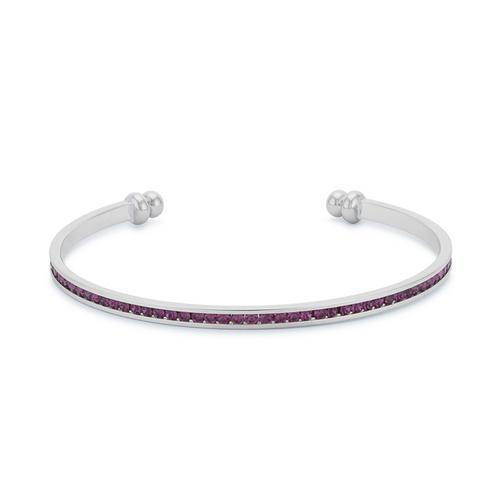 Channel-Set Amethyst Purple Cubic Zirconia Cuff