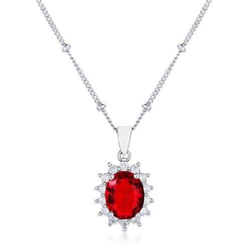Rhodium Plated Ruby Red Petite Royal Oval Pendant