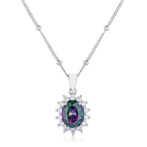 Rhodium Plated Mystic Petite Royal Oval Pendant