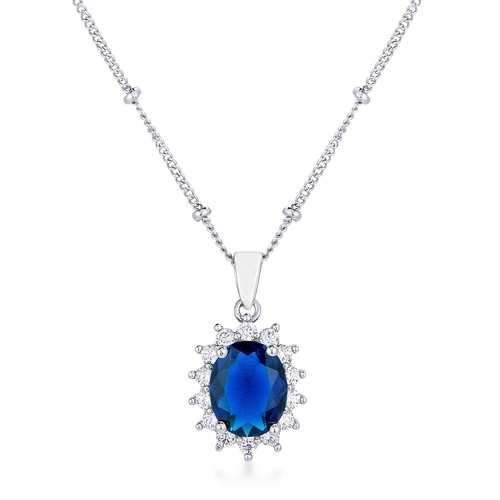 Rhodium Plated Sapphire Blue Petite Royal Oval Pendant