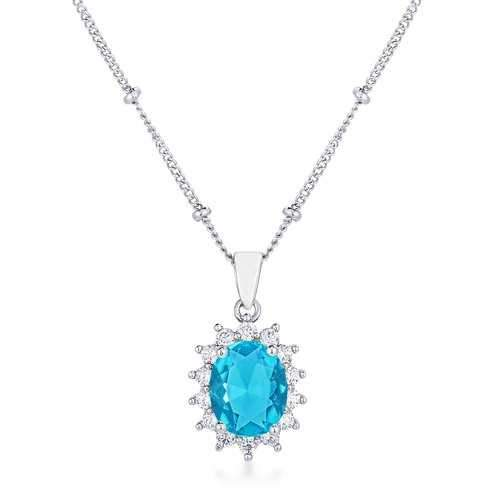 Rhodium Plated Aqua Blue Petite Royal Oval Pendant
