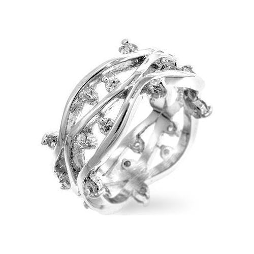 Rhodium Plated Zircon Vines Ring