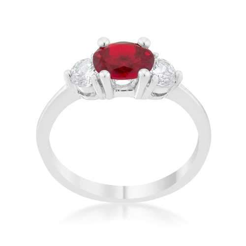 Miranna 1.2ct Garnet CZ Rhodium Classic Oval Ring
