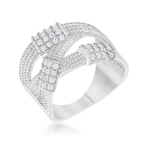 Peyton 0.36ct CZ Rhodium Wide Cable Statement Ring
