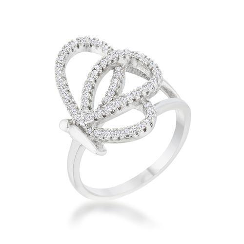 Bea 0.4ct CZ Rhodium Pave Butterfly Ring