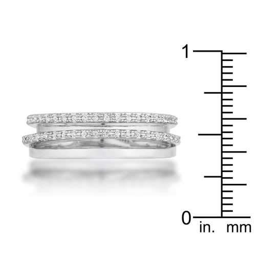 Laurie 0.2ct CZ Rhodium Contemporary Trio Band Ring
