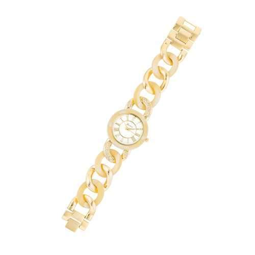 Gold Link Watch with Crystlas
