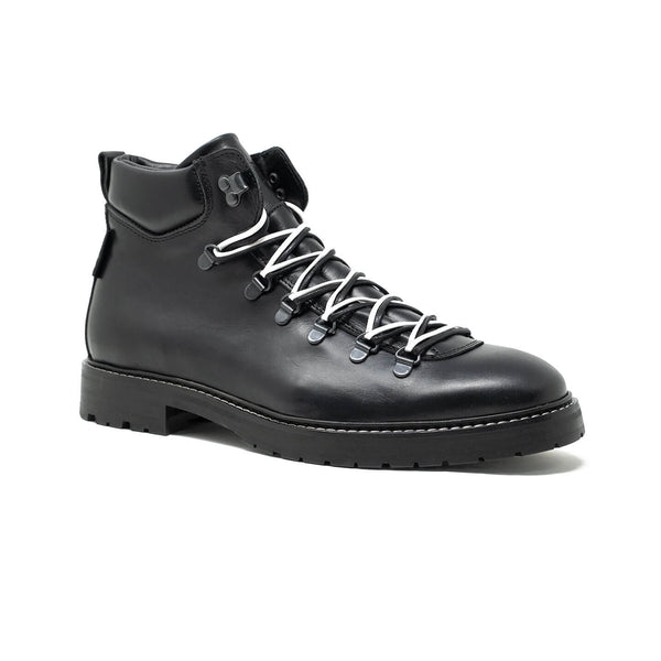 WALK London Tom Cairney Hiking Boot Black Leather