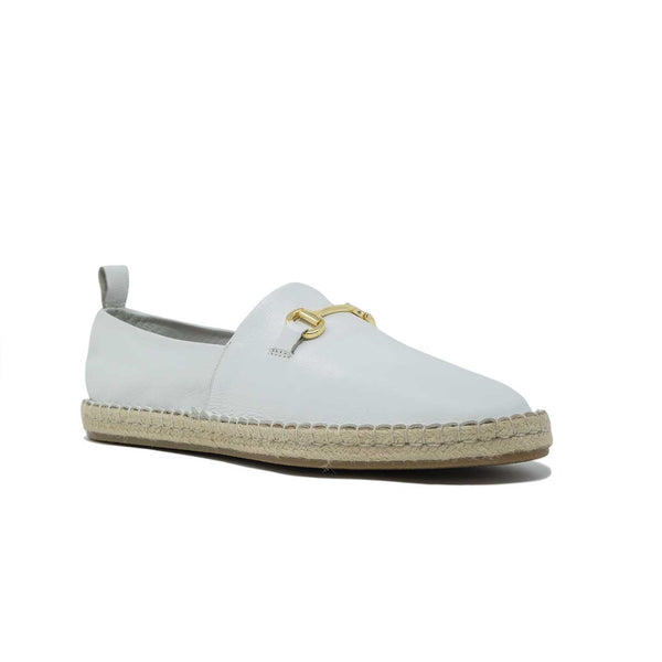 Men's White Leather Espadrille